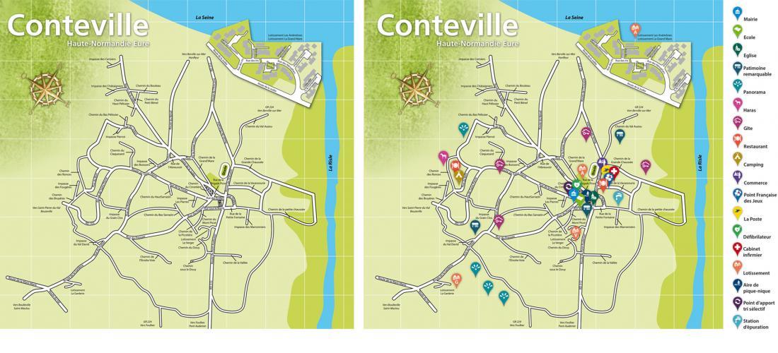 Plan de Conteville (Eure) et centres d'intérêt du village